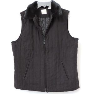 EP Pro Black Suede Like Vest with Faux Fur Collar